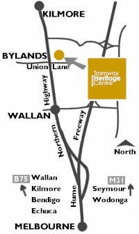 Map: how to get to the Bylands Tramway Heritage Centre