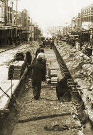 Removing cable tramway, Bridge Road Richmond. Photograph State Library of Victoria