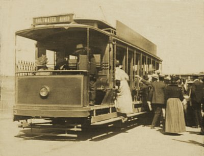 Boarding the Saltwater River tram, pre WWI. Photograph State Library of Victoria.