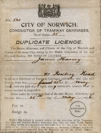 Conductor's licence for James Harvey. From the collection of Richard Adderson.
